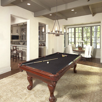 The Owen Group - media rooms - gray, ceiling, pool table, Oriental, rug, breakfast nook, round, wood, table, white, slipcover, ruffled, chairs, pool room, game room,