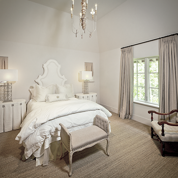 The Owen Group - bedrooms - Custom Creations Furniture, white, headboard, linen, pinch-pleat, drapes, French, burlap, bench, linen, oval, skirted, tables, nightstands, windows, covered, burlap, shades, sisal, carpet, skirted nightstand, oval nightstand, oval skirted nightstand,