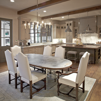 The Owen Group - dining rooms: oval, top, lucite, base, dining table, white, camelback, dining chairs, nailhead trim, gray, French doors, coffee stained, box beams, white dining chairs, nailhead dining chairs, camelback dining chairs, white camelback dining chairs,