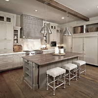 Amazing two-tone kitchen design with box beams, ivory antique finish kitchen cabinets ...