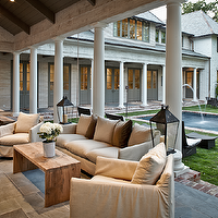 The Owen Group - decks/patios - covered, slate, tiles, floor, Greek, columns, white, slipcover, sofa, chairs, brown, velvet, pillows, outdoor, dining table, benches, pool, gray, French doors, covered deck, covered patio,