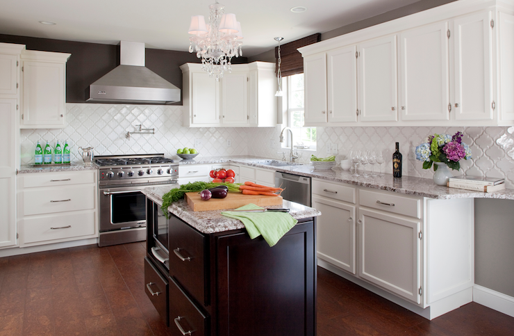Cote de Texas - kitchens - Valspar - Italian Leather - Beveled Arabesque Tile - Glossy White, espresso, walls, white, kitchen cabinets, coffee stained, kitchen island, bianco antico, bianco antico granite, bianco antico granite countertops, bianco antico granite counters, bianco antico granite kitchen, arabesque Tile, arabesque tile backsplash, arabesque tile glossy white, arabesque tiles,