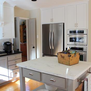 Calcutta Ora Marble, Transitional, kitchen, Benjamin Moore Rockport Gray, Cote de Texas