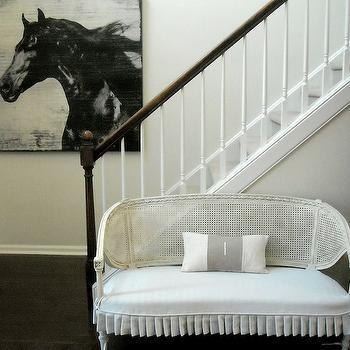 Cote de Texas - entrances/foyers - horse, art, white, French, cane, settee, white, ruffled, seat, cushion, french settee, cane settee, white cane settee, skirted settee, skirted french settee, white settee, white skirted settee, white french settee, cane french settee, white cane french settee,
