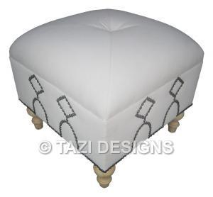 Seating - White Ottoman 18x16 : Moroccan Leather Poufs : : Tazi Designs : : : - white, moroccan, stool