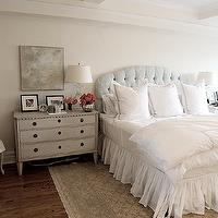 Angie Gren Interiors - bedrooms - pale, blue, damask, tufted, headboard, white, hotel, duvet, shams, blue, stitching, white, ruffled, bedskirt, art, gray, French, cane, chair, white, ruffled, slipcover, sconces, nightstands, french nightstands, gray nightstand, gray french nightstand, Dovetail Soren Dresser 3 Drawer,