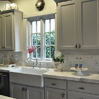 Cote de Texas - kitchens - gray, shaker, kitchen cabinets, Calcutta Ora, marble, slab, countertops, backsplash, farmhouse, sink, polished nickel, bridge, faucet, gray kitchen cabinets, gray kitchens, gray cabinets,