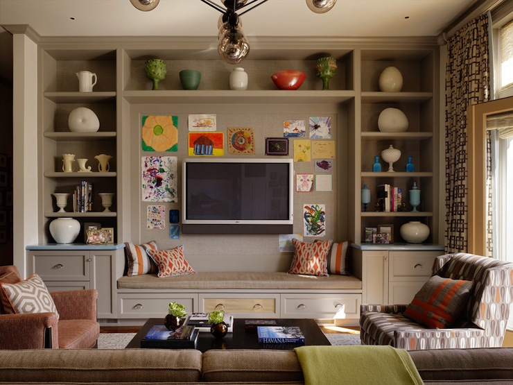 built in cabinets eclectic living room jeffers design group