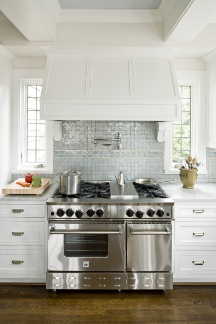 Jenny Baines - kitchens - Benjamin Moore - Baby's Breath - Ann Sacks Tile, miniature, blue, glass, tiles, backsplash, white, shaker, kitchen cabinets, white, carrara, marble, countertops, pot filler, sand walls,