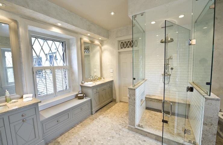Gray bathroom cabinets transitional bathroom martha for Martha stewart bathrooms