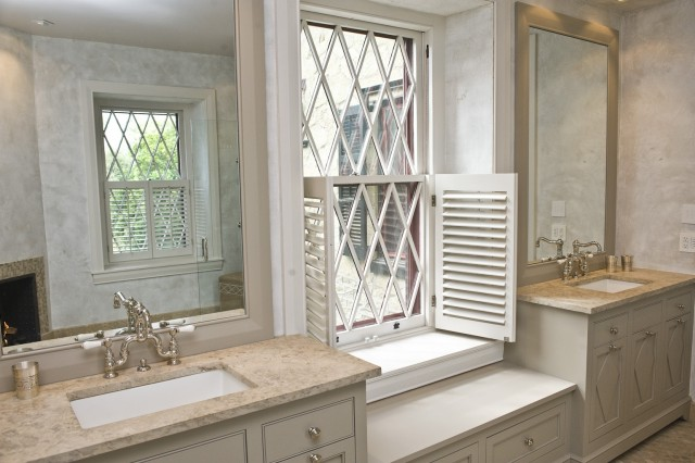 Pine Street Carpenters - bathrooms - Martha Stewart - Pemetic Trail - shutters, taupe, beveled, mirrors, taupe, single bathroom cabinets, Napolina Limestone, countertops,