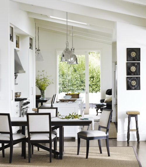 Black and white dining chairs contemporary kitchen for Black country kitchen