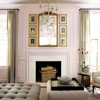 Atlanta Homes & Lifestyles - dens/libraries/offices - Benjamin Moore - Organdy - gray, ceiling, pink, walls, decorative wall moldings, marble, fireplace, gray, sheers, gray, linen, tufted, ottoman, pink walls, pink paint, pink paint color,