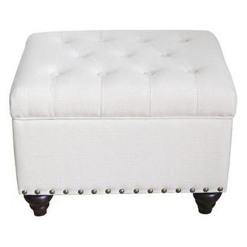 Seating - Ivory Tufted Storage Ottoman Bench with Nailhead : Target - ivory, tufted, storage, ottoman