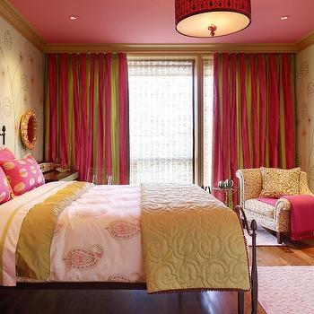 Jeffers Design Group - girl's rooms - pink, green, silk, drapes, iron, bed, pink, green, shams, pink, green, paisley, duvet, green, scroll, blanket, hot pink, nightstands, pink and green girls room, pink and green girls bedroom, pink and green room ideas, pink and green girls bedroom ideas,