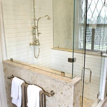 Pine Street Carpenters - bathrooms - seamless glass shower, glossy, white, beveled, subway tiles, shower surround, rain, shower head, stone, bench, Napolina Limestone, tiles, shower floor, diamond, pattern, glass shower design,