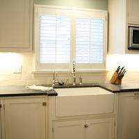 Jenny Baines - kitchens - white, shaker, kitchen cabinets, soapstone, countertops, farmhouse, sink, subway tiles, backsplash, basil flushmount,
