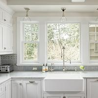 Jenny Baines - kitchens - sand, walls, white, kitchen cabinets, white, carrara, marble, countertops, glass, pendants, blue, miniature, glass, tiles, backspalsh, Ann Sacks Tile,