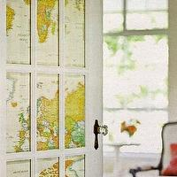 Country Living - entrances/foyers - glass, door, world, map, world map wallpaper,  Gorgeous glass door covered in world map.