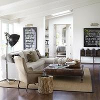 Country Living - living rooms - TV, fireplace, framed, vintage, subway signs, nickel, picture lights, ivory, sofa, chaise lounge, square, leather, tufted, ottoman, sisal, rug, suede, chair, skylight,