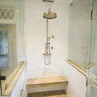 Pine Street Carpenters - bathrooms - seamless glass shower, glossy, white, beveled, subway tiles, shower surround, rain, shower head, stone, bench, Napolina Limestone, tiles, shower floor, Napolina Limestone tile, Napolina Limestone floor, limestone shower floor, limestone shower,