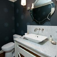 Jenny Baines - bathrooms - black, medallion, wallpaper, white, mirrored, single, bathroom vanity, marble, top, marble, subway tiles, backsplash, wall-mount, faucet kit, Currey &amp; Co. Monteleone Mirror, Kohler Reve Vessel Sink, York Stacy Garcia II Moroccan Medallion Wallpaper,