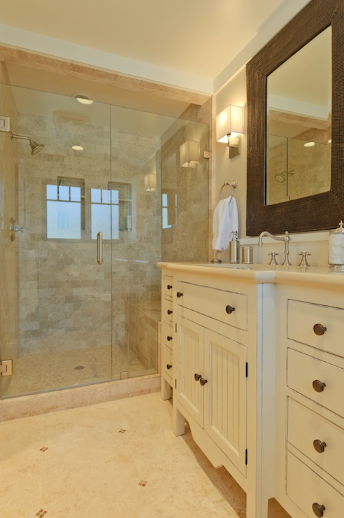 Travertine Subway Tile, Transitional, bathroom, Sherwin Williams Accessible Beige, Regan Baker Design