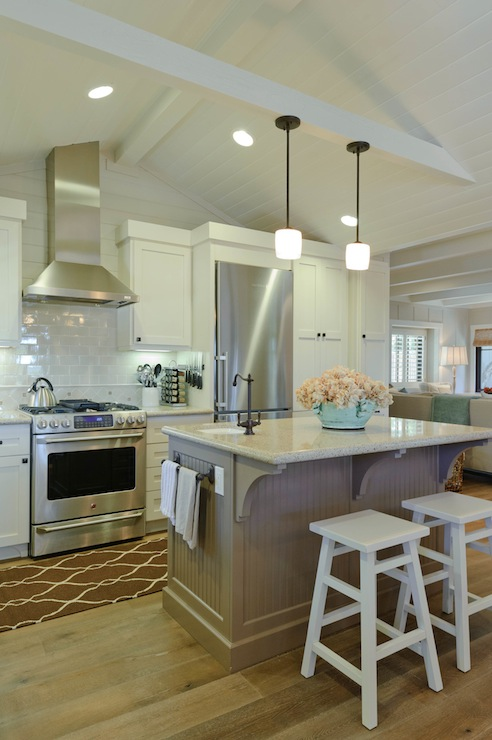 Regan Baker Design - kitchens - Sherwin Williams - Alabaster - Minka Lavery Raiden Collection Mini Pendant Chandelier, Surya Jill Rosenwald Fallon Runner - Chocolate, vaulted, beadboard ceiling, beige, walls, gray, porcelain, subway tiles, backsplash, white, kitchen cabinets, taupe, beadboard, kitchen island, granite, countertops, white, stools, beadboard ceiling, white beadboard ceiling, kitchen beadboard, kitchen beadboard ceiling, beadboard kitchen ceiling, beadboard ceiling kitchen,