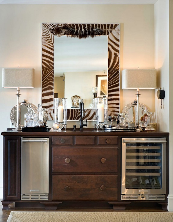 Joy Tribout - dining rooms - zebra, mirror, re-purposed, dresser, stainless steel, mini, fridge, wine cooler, silver, buffet, lamps, zebra mirror,