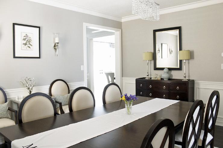 http://www.amdolcevita.com - dining rooms - Benjamin Moore - Revere Pewter - Dining Room, double pedestal mahogany ding table, criss cross dining chairs, Benjamin Moore Revere Pewter, Tribeca sideboard, dining room, crystal chandelier, blue grey silk drapes, mirrored chests, dining room wainscoting moulding, revere pewter,
