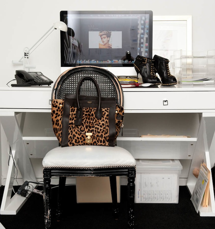 The Coveteur - dens/libraries/offices - Z Gallerie Jett Desk - White Lacquer, glossy, black, cane, chair, lacquer desk, white lacquer desk, white desk, x base desk, white x desk, white x base desk,