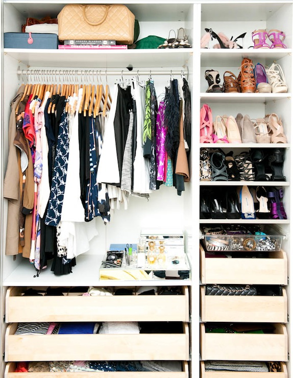 The Coveteur - closets - shoe shelves, acrylic, accessories, basket, wood, drawers, small closet, well organized closet,  Marina Larroude - Small