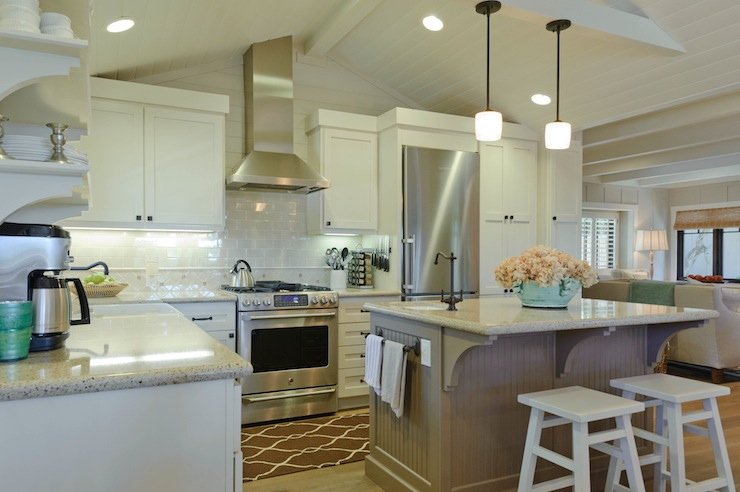 Regan Baker Design - kitchens - Sherwin Williams - Accessible Beige - Sherwin Williams Alabaster, Minka Lavery Raiden Collection Mini Pendant Chandelier, Surya Jill Rosenwald Fallon Runner - Chocolate, vaulted, beadboard ceiling, beige, walls, gray, porcelain, subway tiles, backsplash, white, kitchen cabinets, taupe, beadboard, kitchen island, granite, countertops, white, stools,