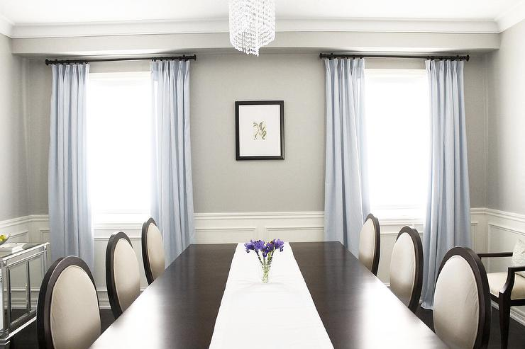 http://www.amdolcevita.com - dining rooms - Benjamin Moore - Revere Pewter - Dining Room, double pedestal mahogany ding table, criss cross dining chairs, Benjamin Moore Revere Pewter, Tribeca sideboard, dining room, crystal chandelier, blue grey silk drapes, mirrored chests, dining room wainscoting moulding, revere pewter, revere pewter,
