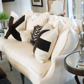 Joy Tribout - living rooms - white, French, linen, sofa, settee, white, pillows, chocolate, brown, velvet, x, detail, mirror, top, chocolate, brown, pedestal, table, brown, tufted, ottoman, french settee, linen settee, linen french settee, white settee, white linen settee, white french settee, upholstered settee, upholstered french settee,