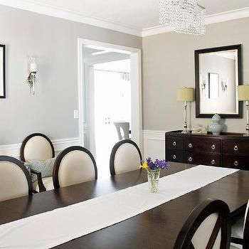 Gray Wall Paint, Transitional, dining room, Benjamin Moore Revere Pewter, AM Dolce Vita