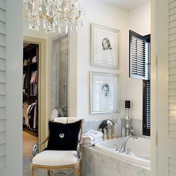 Joy Tribout - bathrooms - crystal chandelier, marble, tiles, floor, glossy, black, shutters, bathroom chandelier,  Marble bathroom with marble