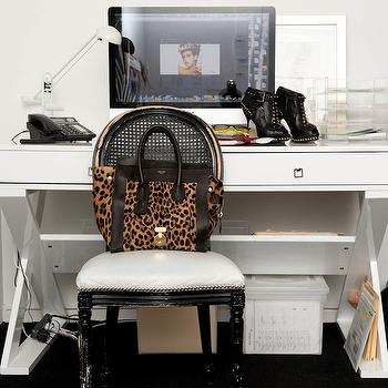 The Coveteur - dens/libraries/offices - glossy, black, cane, chair, lacquer desk, white lacquer desk, white desk, x base desk, white x desk, white x base desk, Z Gallerie Jett Desk - White Lacquer,
