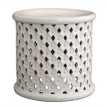 Tables - Diamond-Pattern Stool | Stools & Ottomans | Wisteria - white, diamond, pattern, bamileke, stool