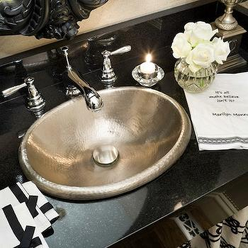 Joy Tribout - bathrooms - skirted, sink, glossy, black, granite, floating, vanity, hammered, metal, sink, black, ornate, mirror, hammered sink, hammered metal sink,