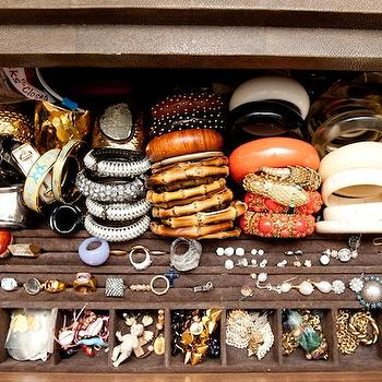 The Coveteur - closets - accessories, velvet, jewelry, case, bracelets, cuffs, rings, earrings, jewelry drawer, velvet jewelry drawer,  Filipa