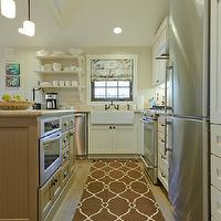 Regan Baker Design - kitchens - beige, walls, farmhouse, sink, beadboard, vaulted, ceiling, white, kitchen cabinets, taupe, beadboard, kitchen island, granite, countertops, trellis rug, trellis runner, brown trellis runner, brown trellis rug, Minka Lavery Raiden Collection Mini Pendant Chandelier, Surya Jill Rosenwald Fallon Runner - Chocolate,
