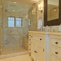 Regan Baker Design - bathrooms - wove, mirror, beige, walls, ivory, single bathroom vanity, beadboard, doors, travertine, countertops, travertine, tiles, floor, seamless glass shower, stone, bench, travertine, subway tiles, shower surround, travertine tiles, travertine shower tile, travertine shower tiles, travertine tile bathroom, travertine shower surround, travertine subway tile, travertine subway tile shower, Sherwin Williams Alabaster,