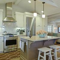 Regan Baker Design - kitchens - vaulted, beadboard ceiling, beige, walls, gray, porcelain, subway tiles, backsplash, white, kitchen cabinets, taupe, beadboard, kitchen island, granite, countertops, white, stools, beadboard ceiling, white beadboard ceiling, kitchen beadboard, kitchen beadboard ceiling, beadboard kitchen ceiling, beadboard ceiling kitchen, Minka Lavery Raiden Collection Mini Pendant Chandelier, Surya Jill Rosenwald Fallon Runner - Chocolate,