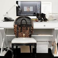 The Coveteur - dens/libraries/offices - glossy, black, cane, chair, lacquer desk, white lacquer desk, white desk, Z Gallerie Jett Desk - White Lacquer,