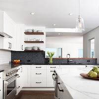 Regan Baker Design - kitchens - white, kitchen cabinets, black, granite, countertops, kitchen island, marble, countertop, subway tiles, backsplash, navy blue, miniature, tiles, backsplash, waterworks pendants, henry pendants, Waterworks Henry Pendant with Hand Blown Glass Shade,