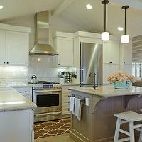 Regan Baker Design - kitchens - vaulted, beadboard ceiling, beige, walls, gray, porcelain, subway tiles, backsplash, white, kitchen cabinets, taupe, beadboard, kitchen island, granite, countertops, white, stools, Sherwin Williams Alabaster, Minka Lavery Raiden Collection Mini Pendant Chandelier, Surya Jill Rosenwald Fallon Runner - Chocolate,