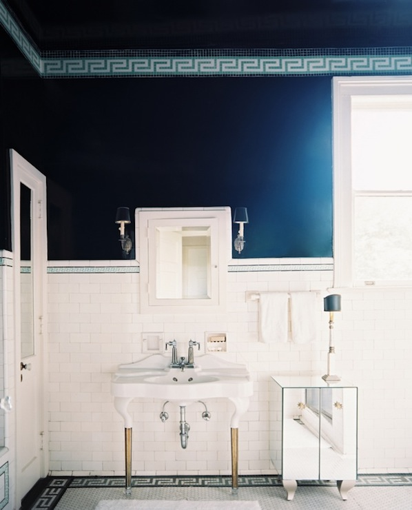Fantastic We Actually Love The Look Of These Marbled Tiles And The Way They Bring Color Into The Space Dont Be Afraid To Use Color In Your Bathroom  Navy Blue And Black Large Tiles Can Act As A Neutral But Make A Huge Impact Use Fish Scale Tiles In