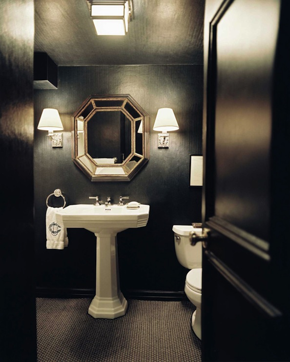 Lonny Magazine - bathrooms - glossy, black, door, black, walls, black, ceiling, glossy, white, pedestal, sink, octagon, mirror, monogrammed, towel, vintage, black, penny, tiles, octagon mirrors, octagon mirror, silver octagon mirror, silver octagonal mirror,