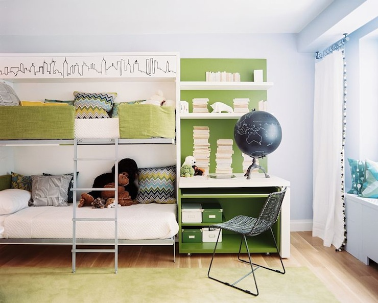 Lonny Magazine - boy's rooms - blue, walls, metal, bunk beds, green rug, glossy, green, desk, white, floating shelves, green, blue, pillows, metal bunk beds,